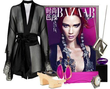 371 - Look of the Day with a black kimono Carine Gilson