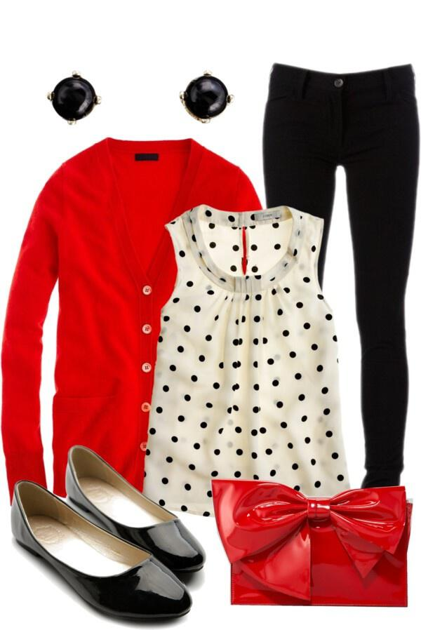 fall outfit in red black and white - Feminine fall outfit in red, black and white