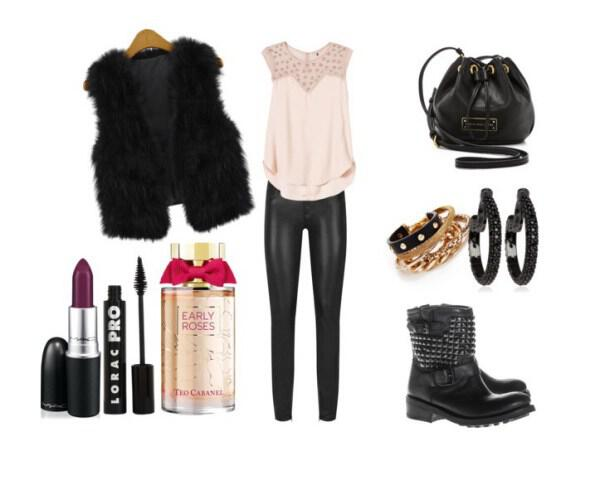 Rock and feminine outfit with leather pants - Rock and feminine outfit with leather pants