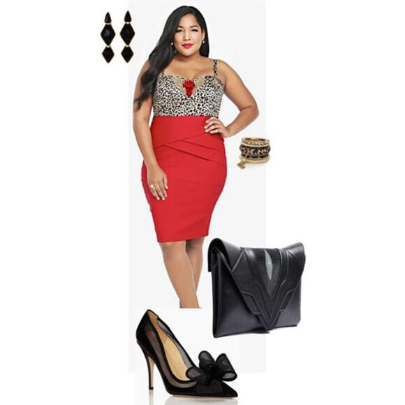 red plus size outfit (12)