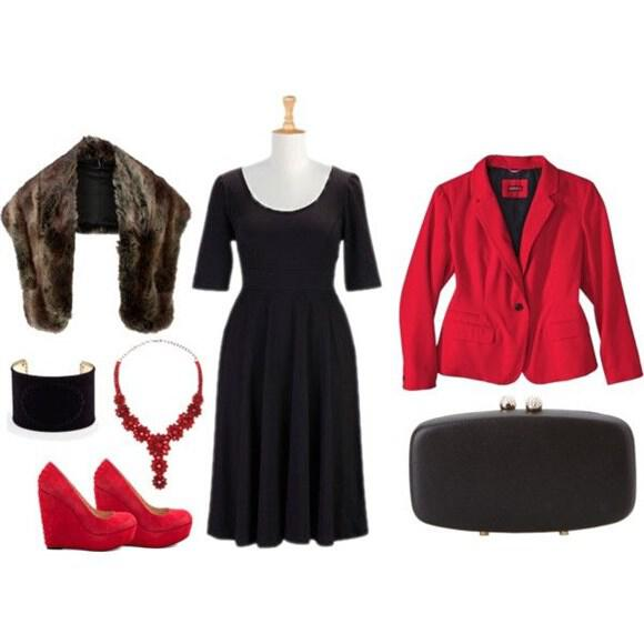 red plus size outfit (13)