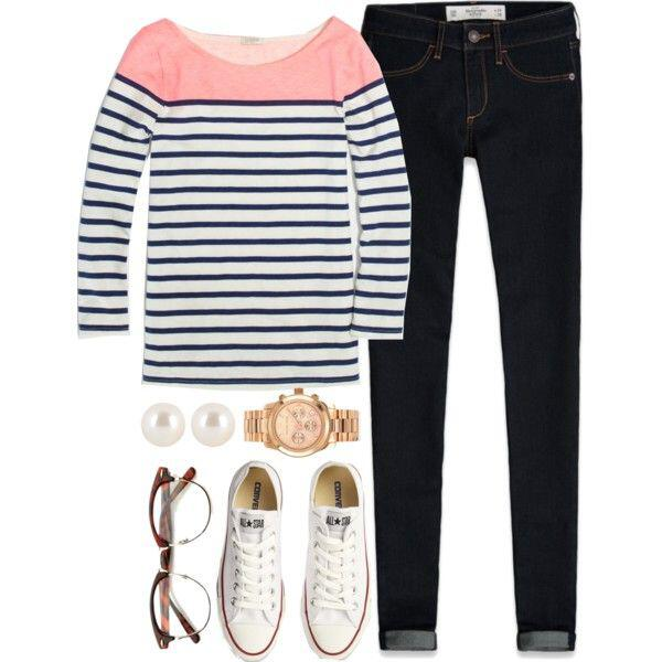 11 casual fall outfits converse shoes8 - 6 stylish ways to wear stripes this spring