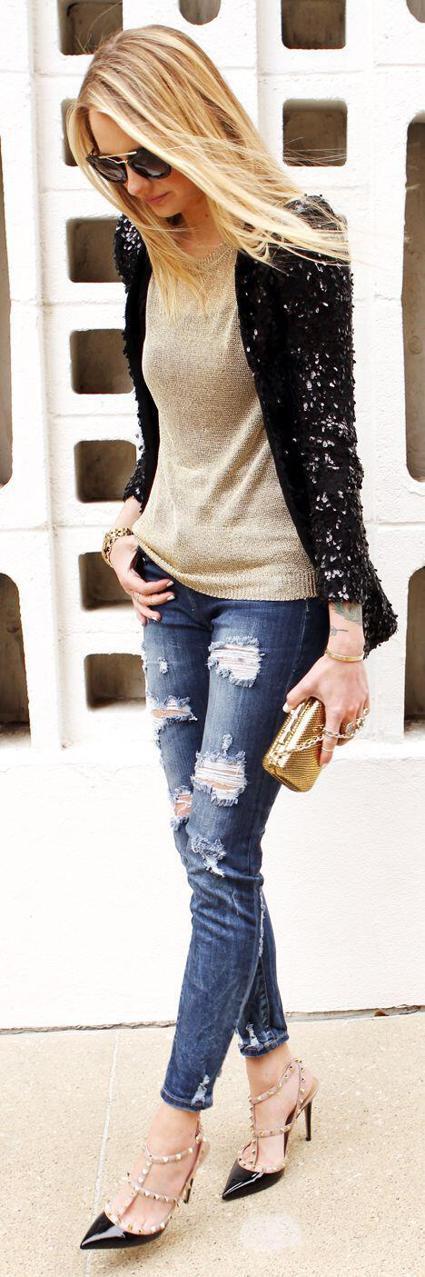 5 beautiful Christmas party outfits with denim pants - Page 5 of 5 - stylishwomenoutfits.com