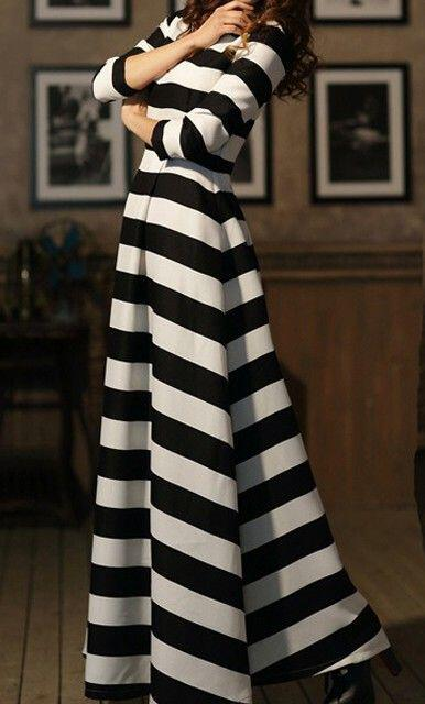 5 ways to wear a striped maxi dresses during winter - Page 2 of 5 ... 94a8c3dfe