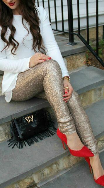 6 ways wear gold sequin pants valentines day 1 - 6 ways to wear gold sequin pants at Valentine's day