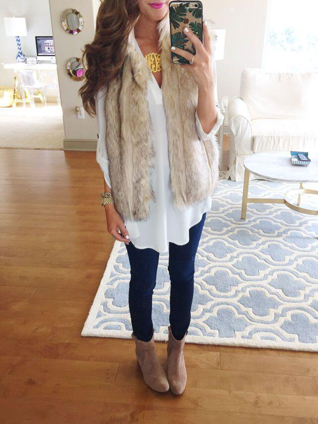 7 ideas to update your outfits with a faux fur vest
