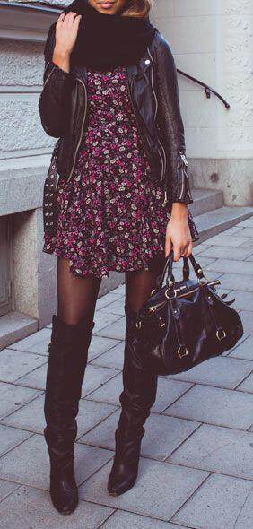 wear floral dress during winter 3 - How to wear the floral dress during the winter