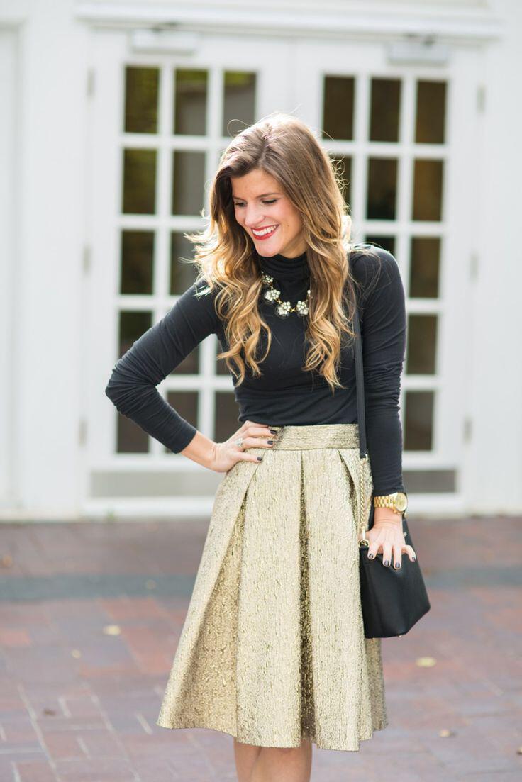 aa448abc1ab1 6 smart ways to wear a gold skirt - stylishwomenoutfits.com