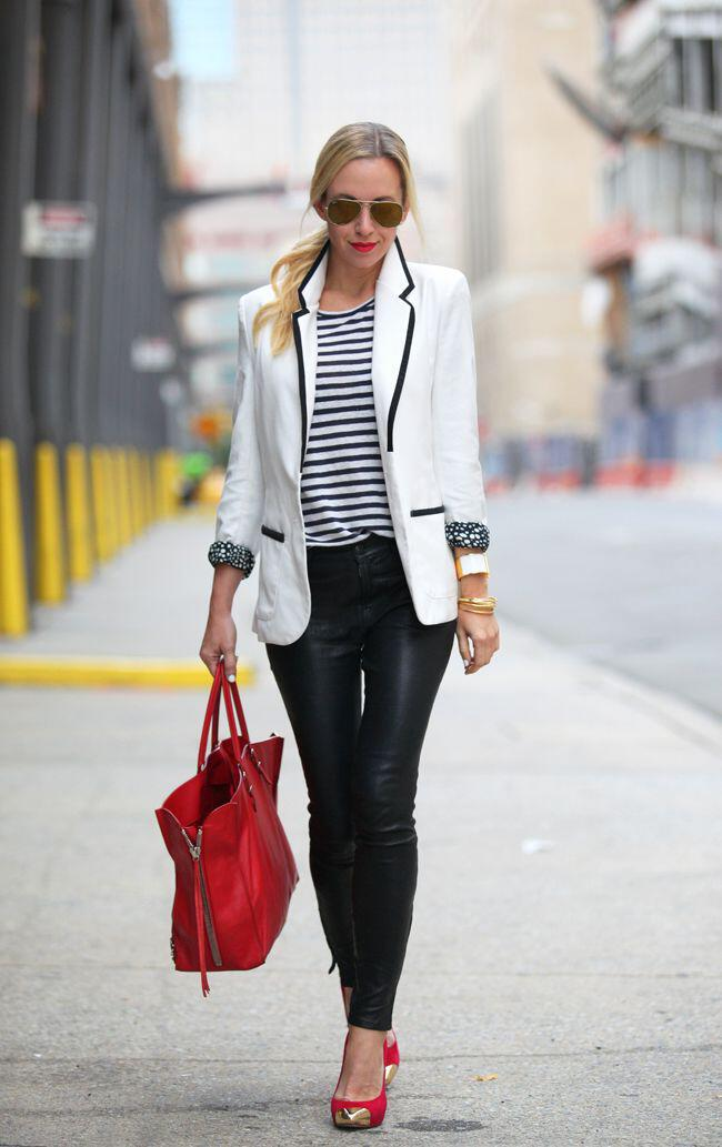 6 stylish ways to combine a striped shirt with leather ...