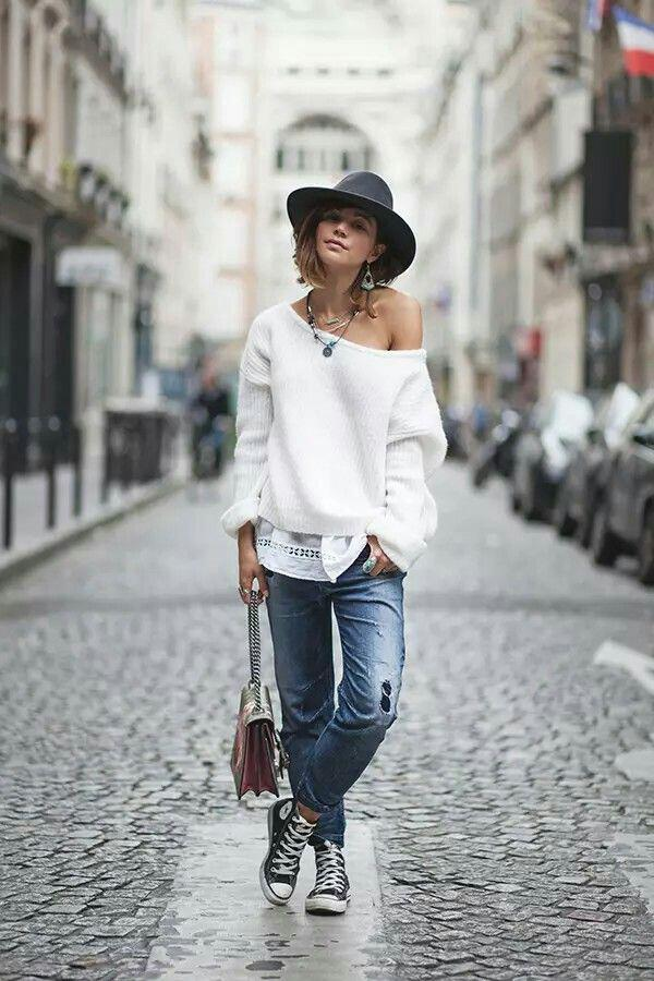 25 stylish winter outfits with boyfriend jeans and sweaters 10 - Πως να φορέσεις boyfriend jeans με πουλόβερ το χειμώνα - 8 outfit ideas