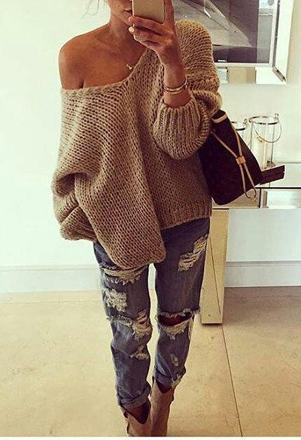 9db2ea8cfe 25 stylish winter outfits with boyfriend jeans and sweaters - Page ...