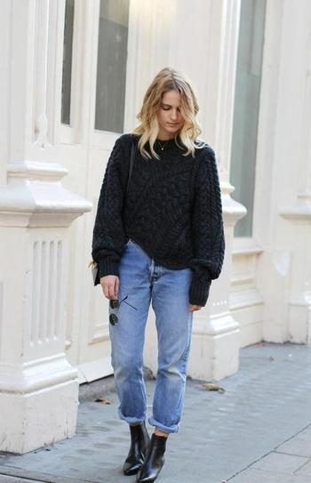 25 stylish winter outfits with boyfriend jeans and sweaters 12 - Πως να φορέσεις boyfriend jeans με πουλόβερ το χειμώνα - 8 outfit ideas
