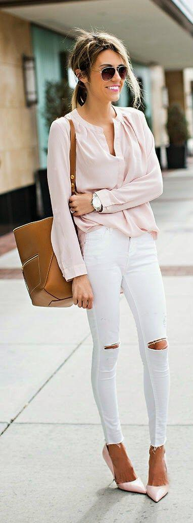 11 classy spring outfits with a pastel blouse 5 - 11 classy spring outfits with a pastel blouse