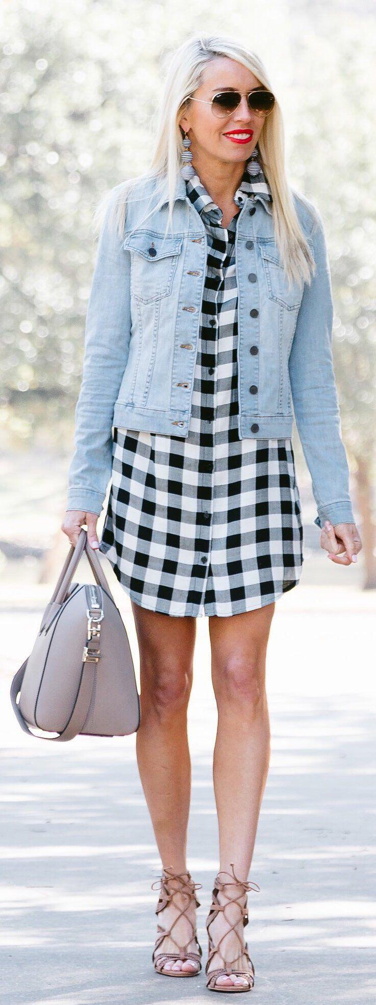 11 lovely spring outfits with a denim jacket 5 - 11 lovely spring outfits with a denim jacket