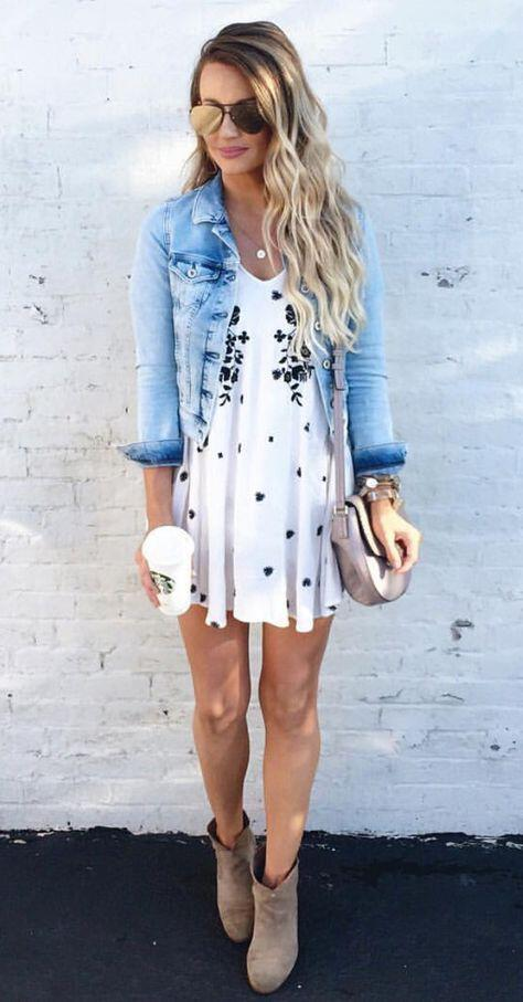 11 lovely spring outfits with a denim jacket ...