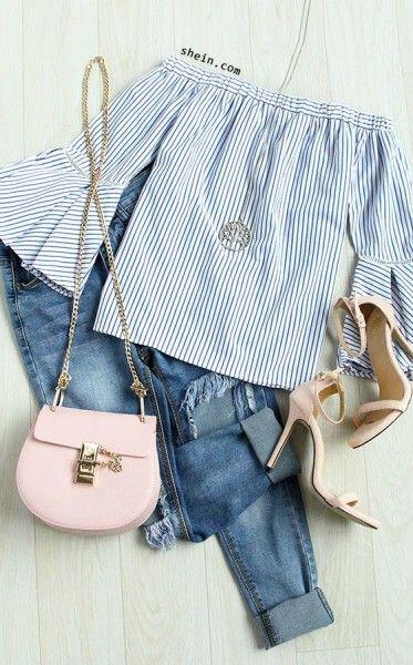 14 beautiful spring outfits with a striped top | Blazer with