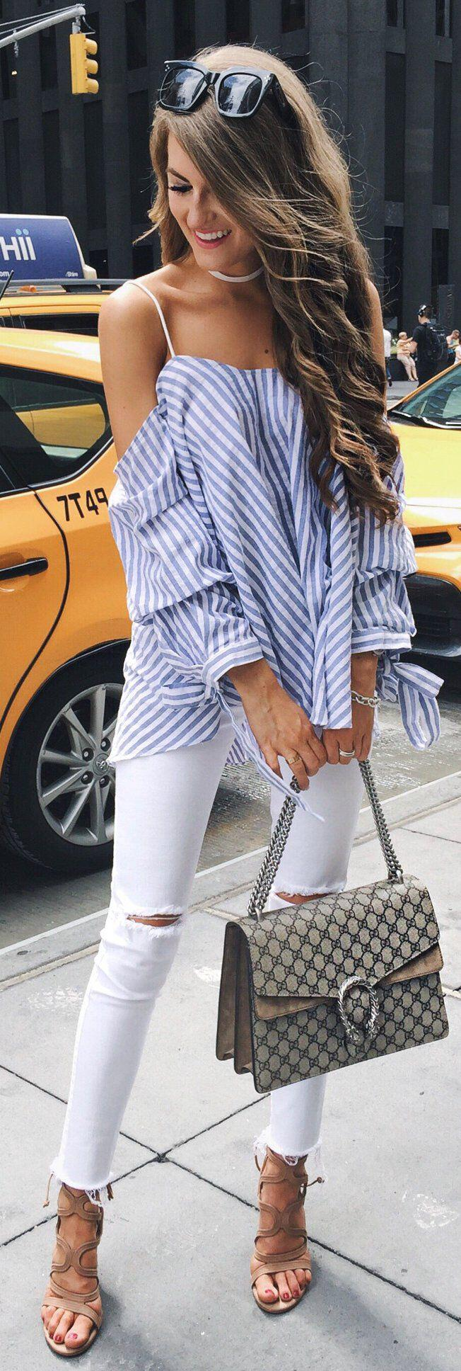 14 stylish spring outfits with white jeans 1 - 14 stylish spring outfits with white jeans