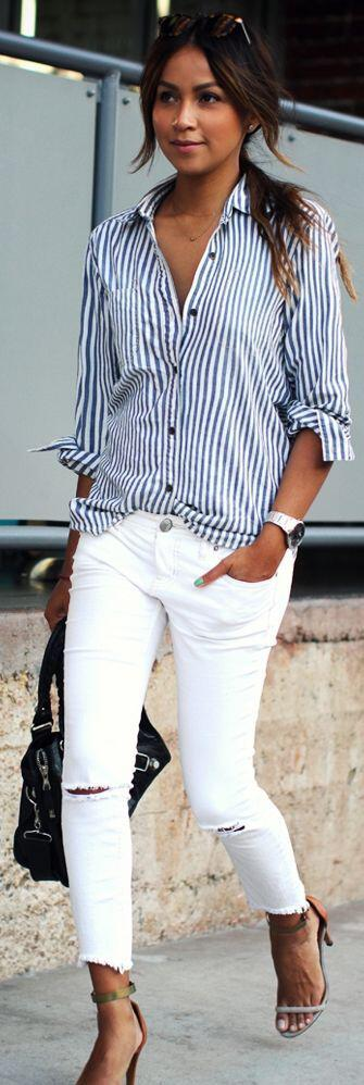 14 stylish spring outfits with white jeans 10 - 14 stylish spring outfits with white jeans