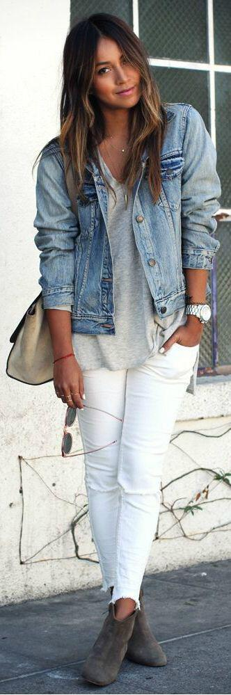 14 stylish spring outfits with white jeans 3 - 14 stylish spring outfits with white jeans