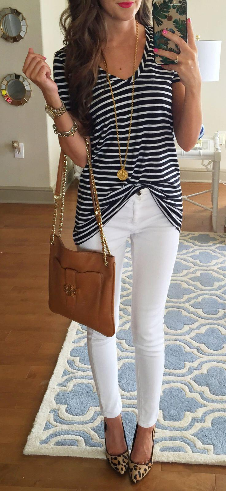 14 stylish spring outfits with white jeans 5 - 14 stylish spring outfits with white jeans