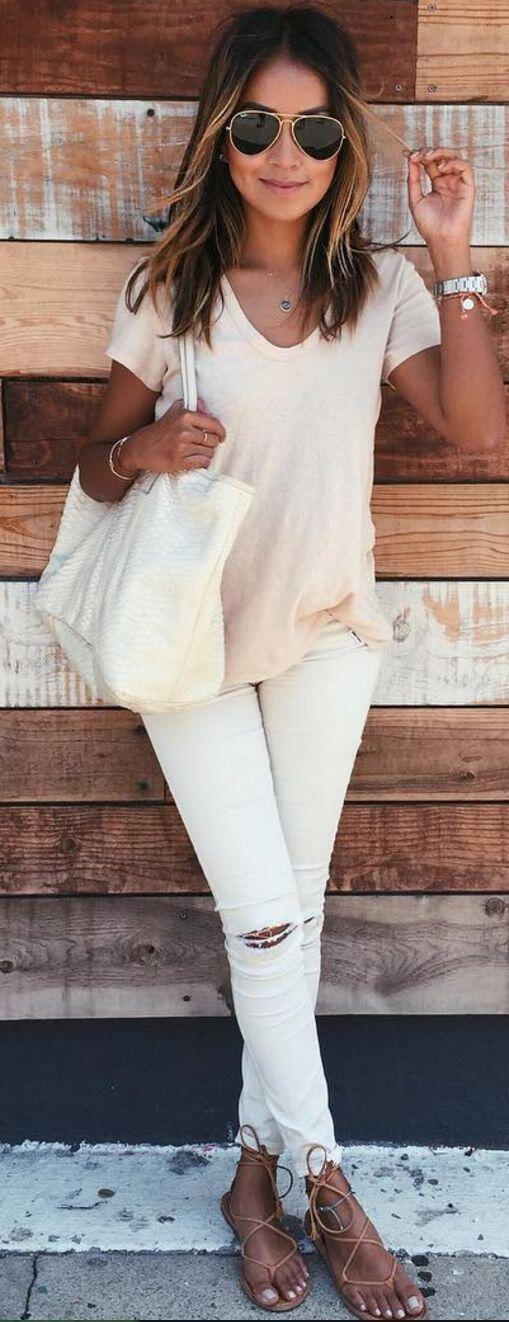 14 stylish spring outfits with white jeans 7 - 14 stylish spring outfits with white jeans