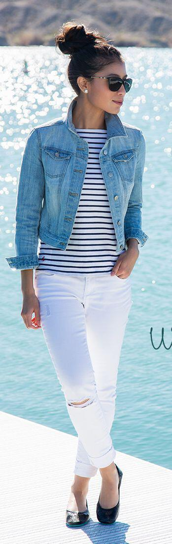 14 stylish spring outfits with white jeans 9 - 14 stylish spring outfits with white jeans
