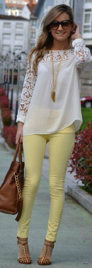 19 outfit ideas to wear your yellow jeans this spring 12 - 19 outfit ideas to wear your yellow jeans this spring
