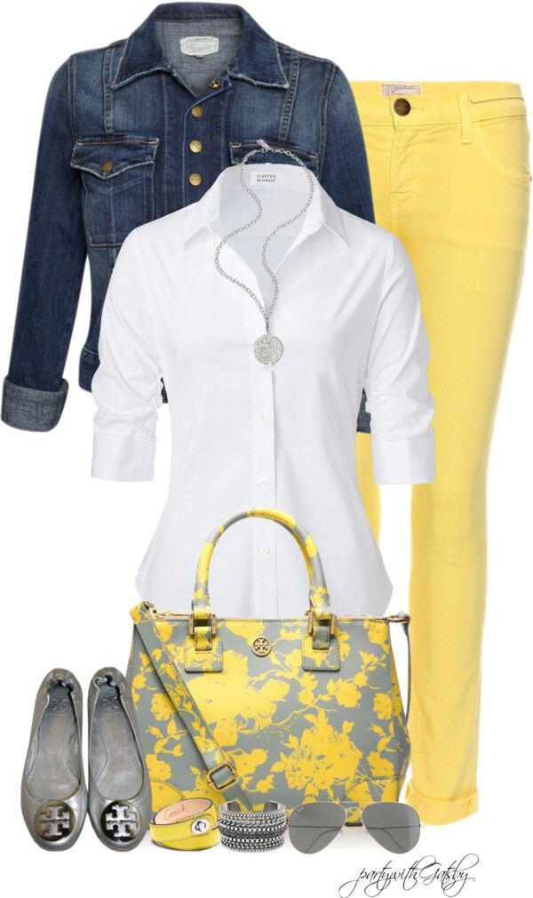 19 outfit ideas to wear your yellow jeans this spring 2 - 19 outfit ideas to wear your yellow jeans this spring