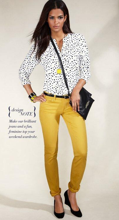 19 outfit ideas to wear your yellow jeans this spring 4 - 19 outfit ideas to wear your yellow jeans this spring