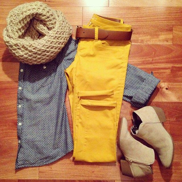 19 outfit ideas to wear your yellow jeans this spring 5 - 19 outfit ideas to wear your yellow jeans this spring