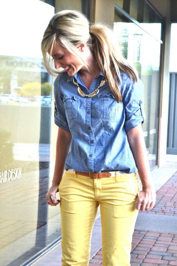 19 outfit ideas to wear your yellow jeans this spring 7 - 19 outfit ideas to wear your yellow jeans this spring