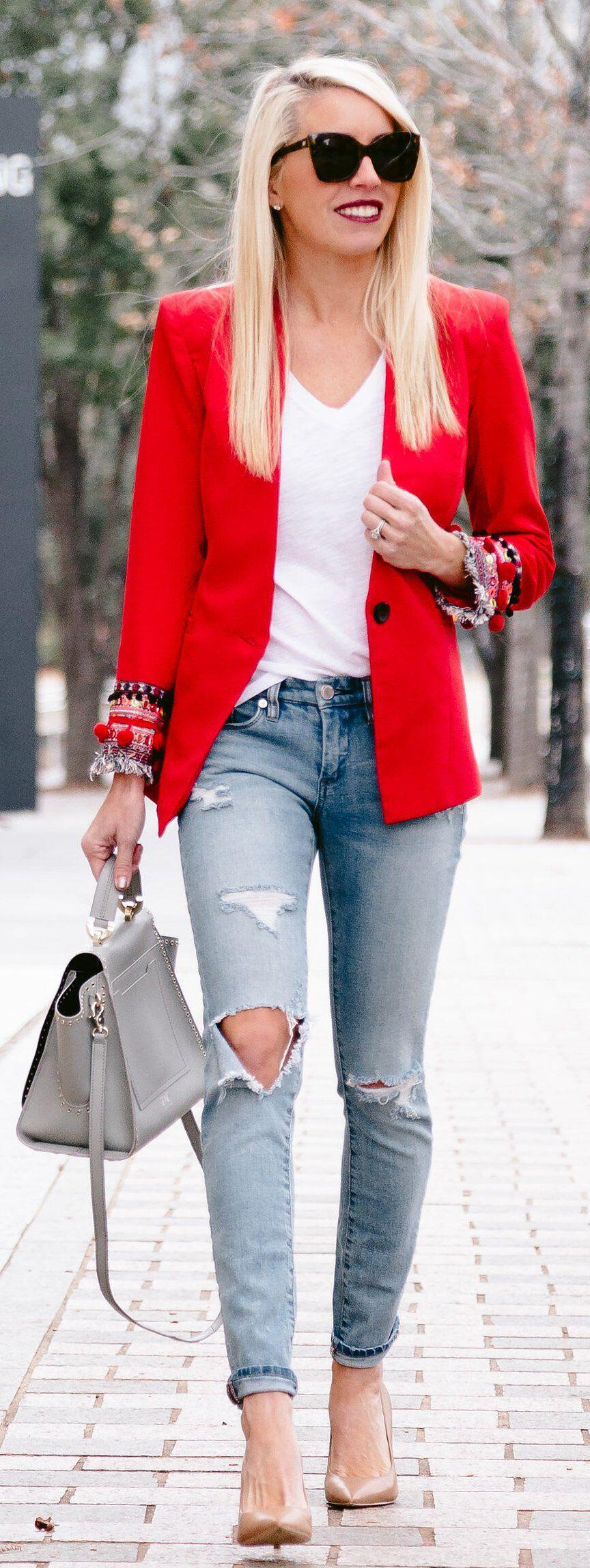 11 inspiring ways to wear your red blazer right now - stylishwomenoutfits.com