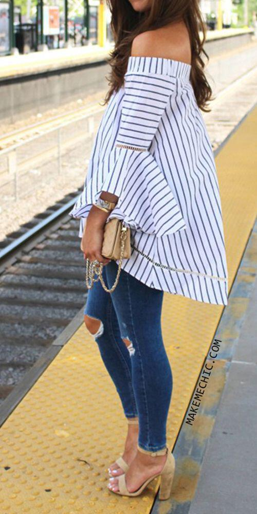 14 lovely ways to wear striped off the shoulder tops in spring 1 - 14 lovely ways to wear striped off the shoulder tops in spring