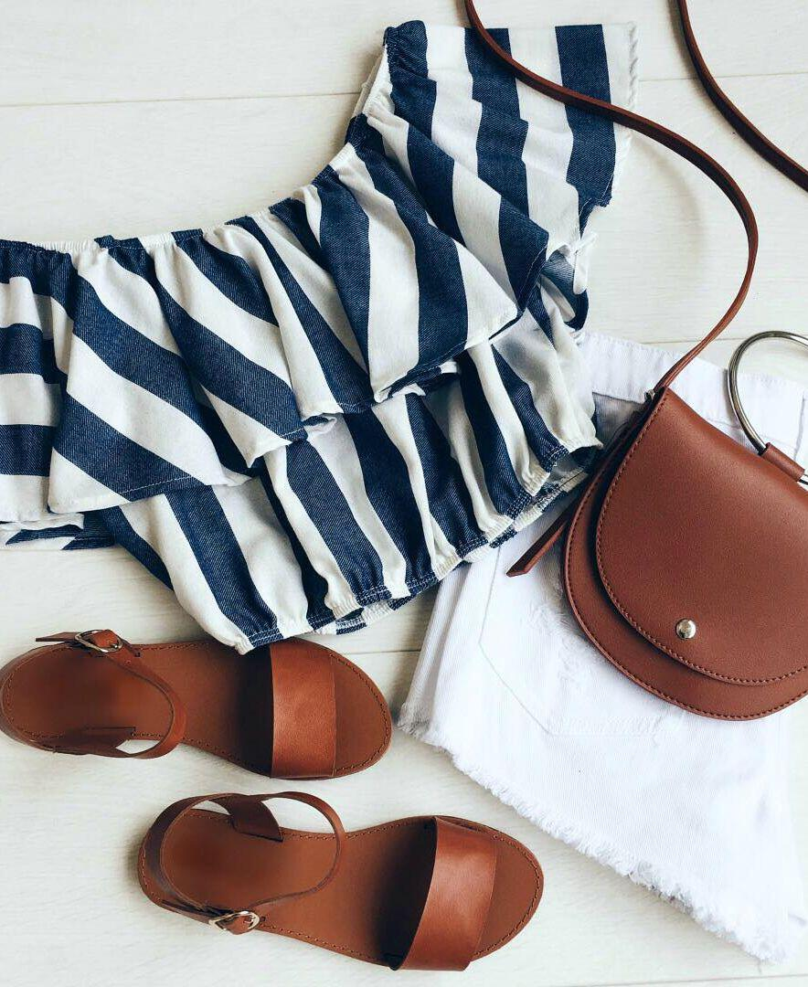 14 lovely ways to wear striped off the shoulder tops in spring 12 - 14 lovely ways to wear striped off the shoulder tops in spring