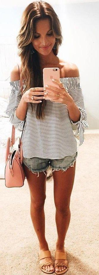 14 lovely ways to wear striped off the shoulder tops in spring 2 - 14 lovely ways to wear striped off the shoulder tops in spring