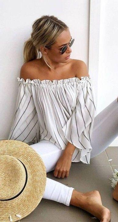 14 lovely ways to wear striped off the shoulder tops in spring 6 - 14 lovely ways to wear striped off the shoulder tops in spring