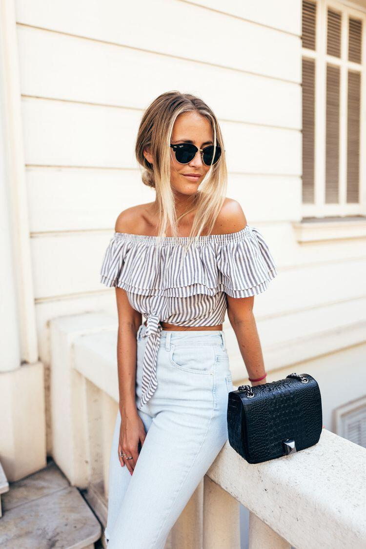 14 lovely ways to wear striped off the shoulder tops in spring - 14 lovely ways to wear striped off the shoulder tops in spring
