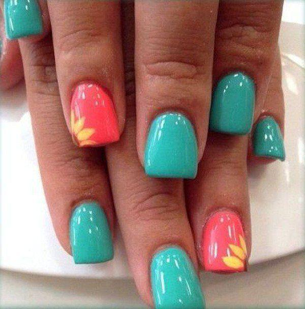 15 spring nails in teal color 6 - 14 spring nails in teal color that you can copy