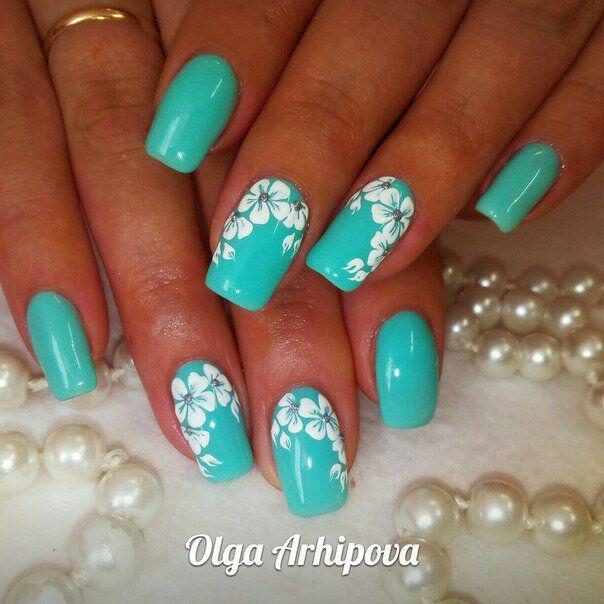 15 spring nails in teal color 9 - 14 spring nails in teal color that you can copy