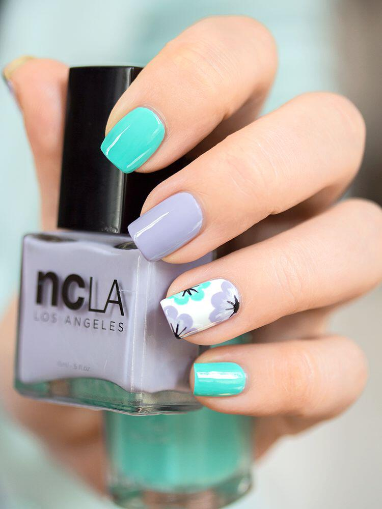 14 spring nails in teal color that you can copy ...