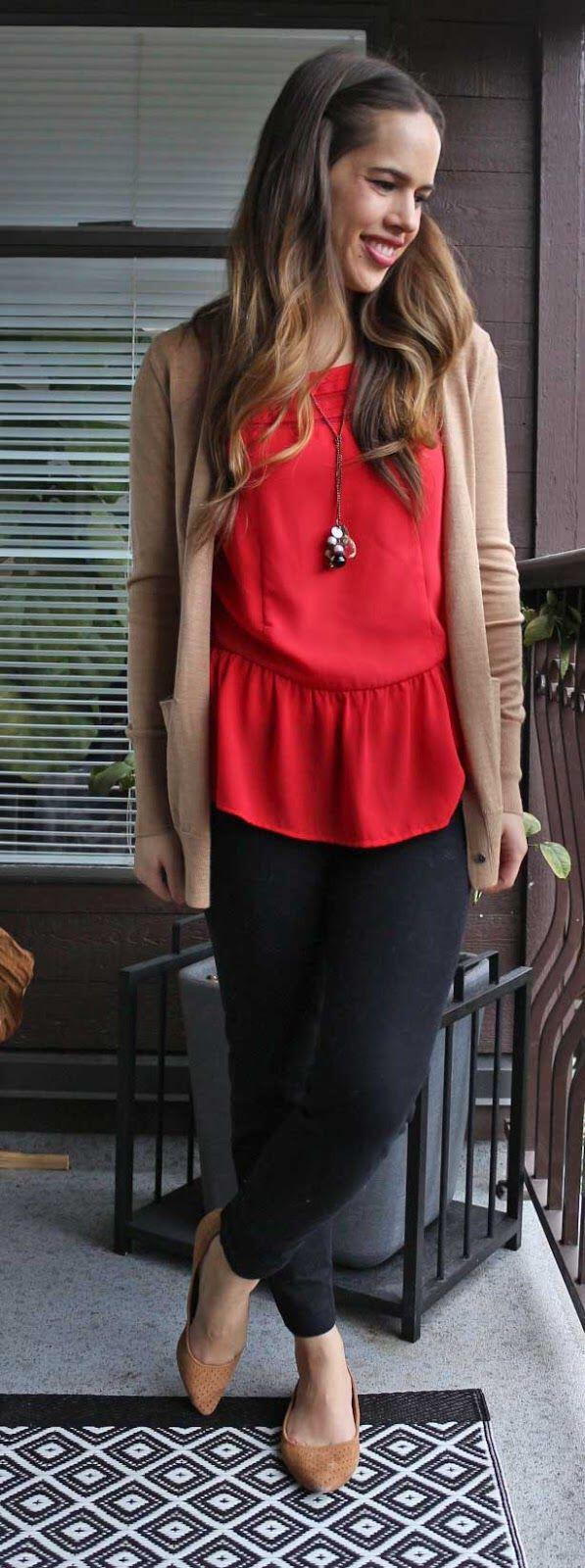 10 ways to wear a red top work outfit and look good 2 - 10 ways to wear a red top work outfit and look good