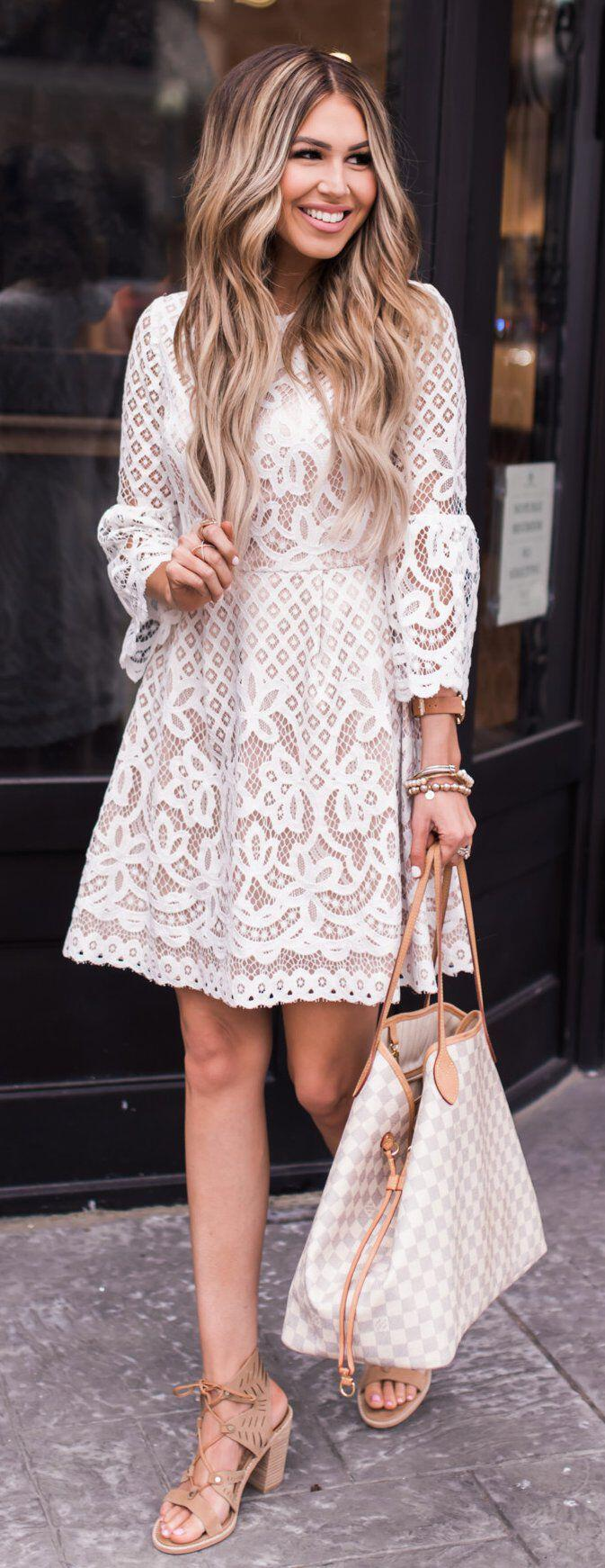 7ec89a7de83 14 inspiring white lace dress outfits for all seasons - Page 3 of 14 ...