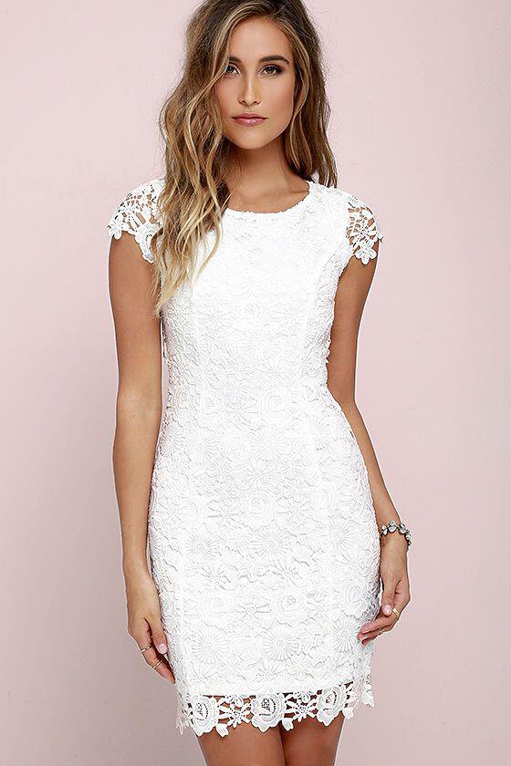 dfa841256f8 14 inspiring white lace dress outfits for all seasons - Page 7 of 14 ...