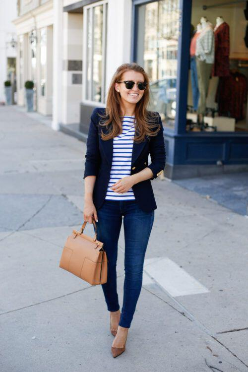 15 stylish navy blazer summer outfits to wear at work ...
