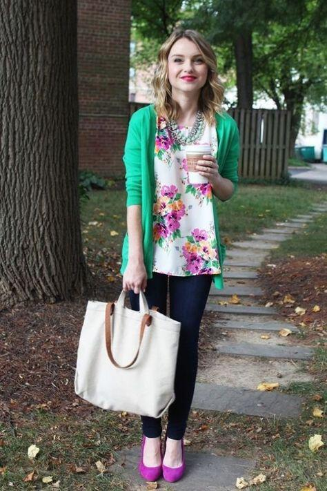 9 casual work outfits with a floral top 8 - 9 casual work outfits with a floral top