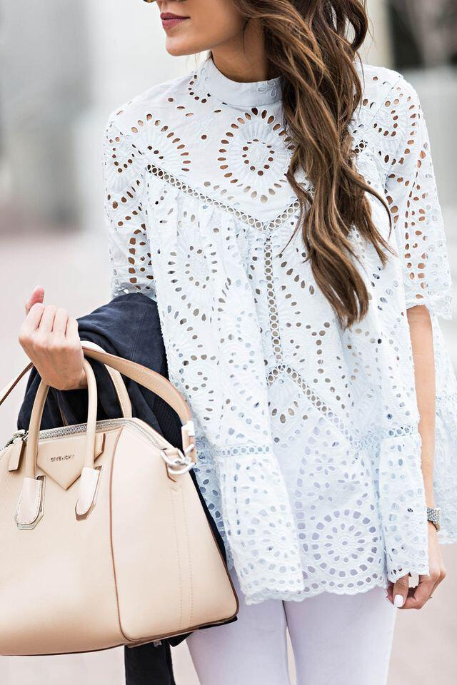 14 cute summer outfit with eyelet tops 5 - 14 cute summer outfit with eyelet tops