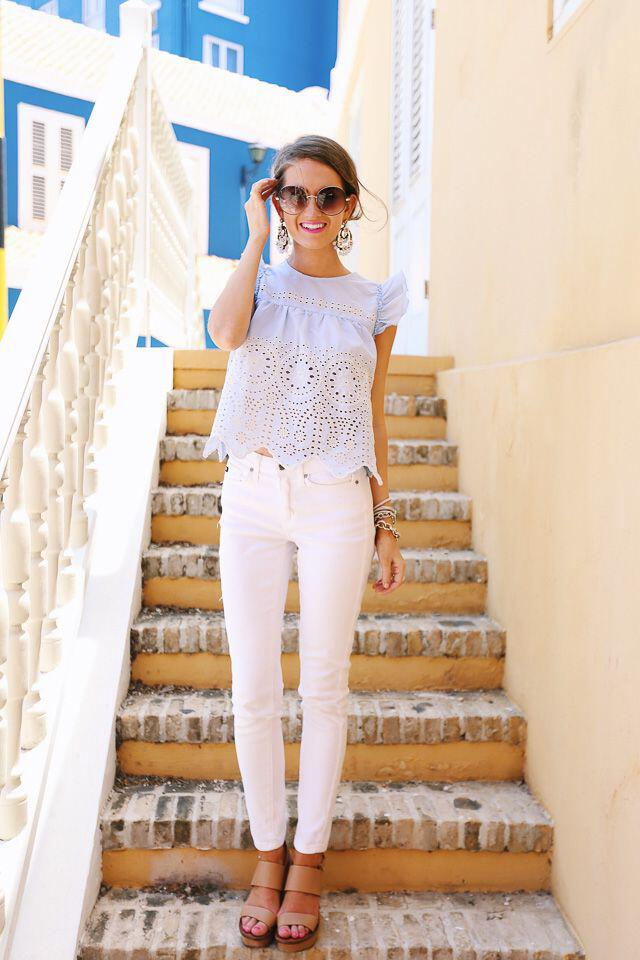 14 Cute Summer Outfit With Eyelet Tops