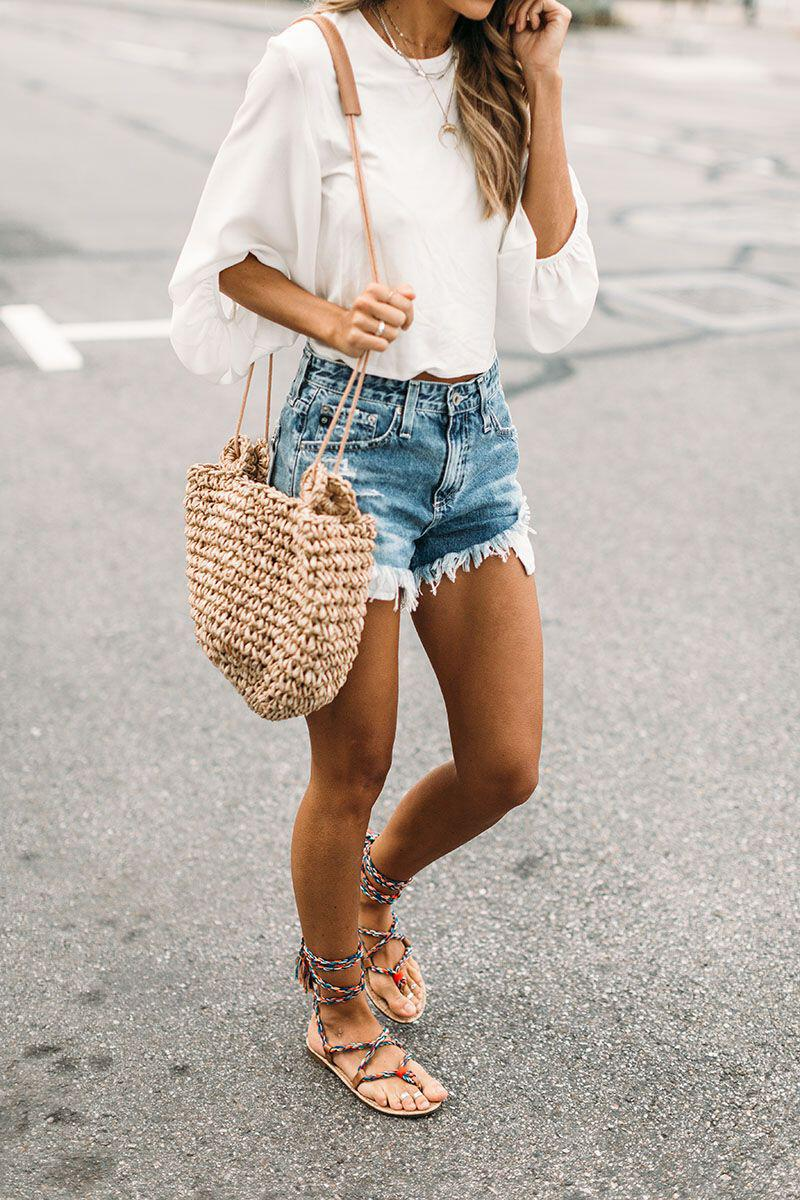 15 stylish woven bag outfits for the summer 12 - 15 stylish woven bag outfits for the summer