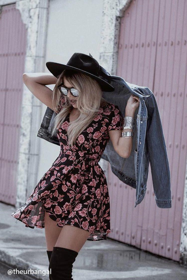 12 floral dress outfits to transition from summer to fall 7 - 12 floral dress outfits to transition from summer to fall
