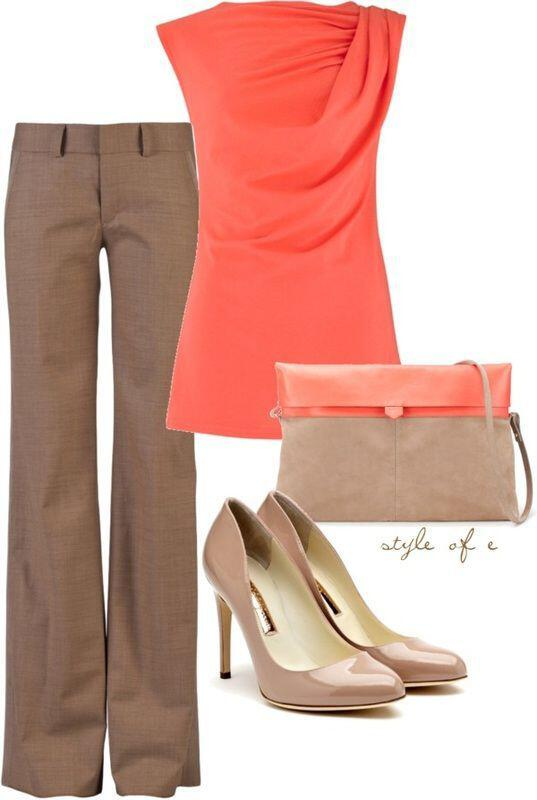 7 tasteful ways to wear a coral top at work 2 - 7 tasteful ways to wear a coral top at work